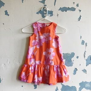 CrewCuts Orange Floral Drop Waist Cotton Dress